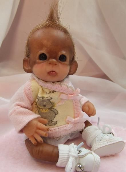 Ooak Baby Orangutan Monkey Girl Sculpted Polymer Clay ART Doll Teddy Bear | eBay
