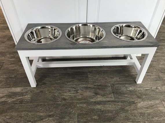 The Farmhouse Style Raised Triple Dog Feeder Bowl