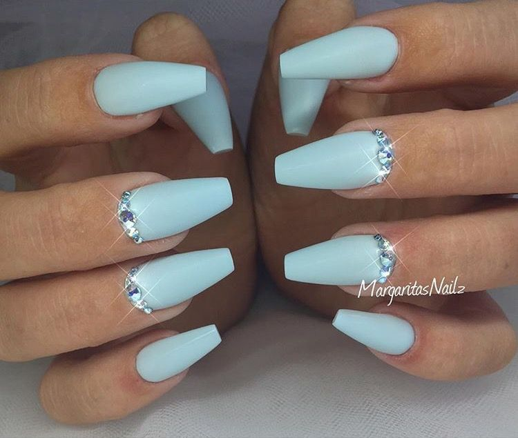 Baby Blue Coffin Nails by MargaritasNailz from Nail Art Gallery - Pin By BadBihPins 🖤⚡ On Dream Nailsss Pinterest Coffin Nails