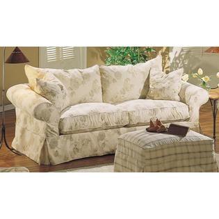 Rowe Furniture Carmel Roll Arm Sofa Slip Cover Woven Tan