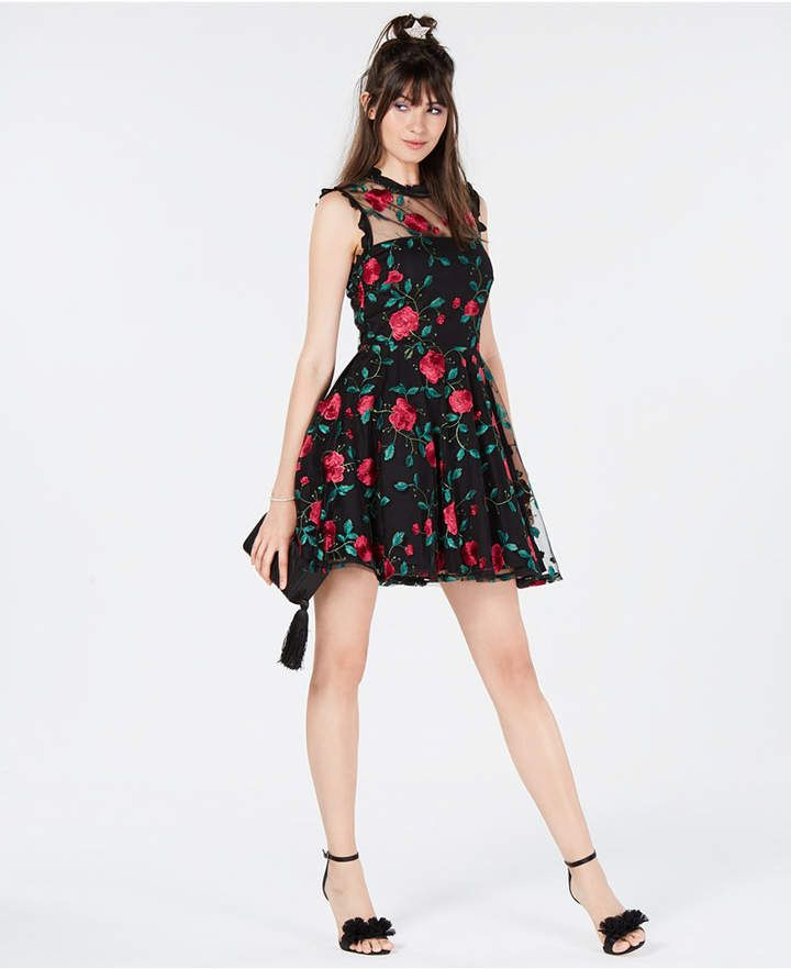 b05d0b4a78009 City Studios Juniors' Floral-Embroidered Fit & Flare Dress | My ...