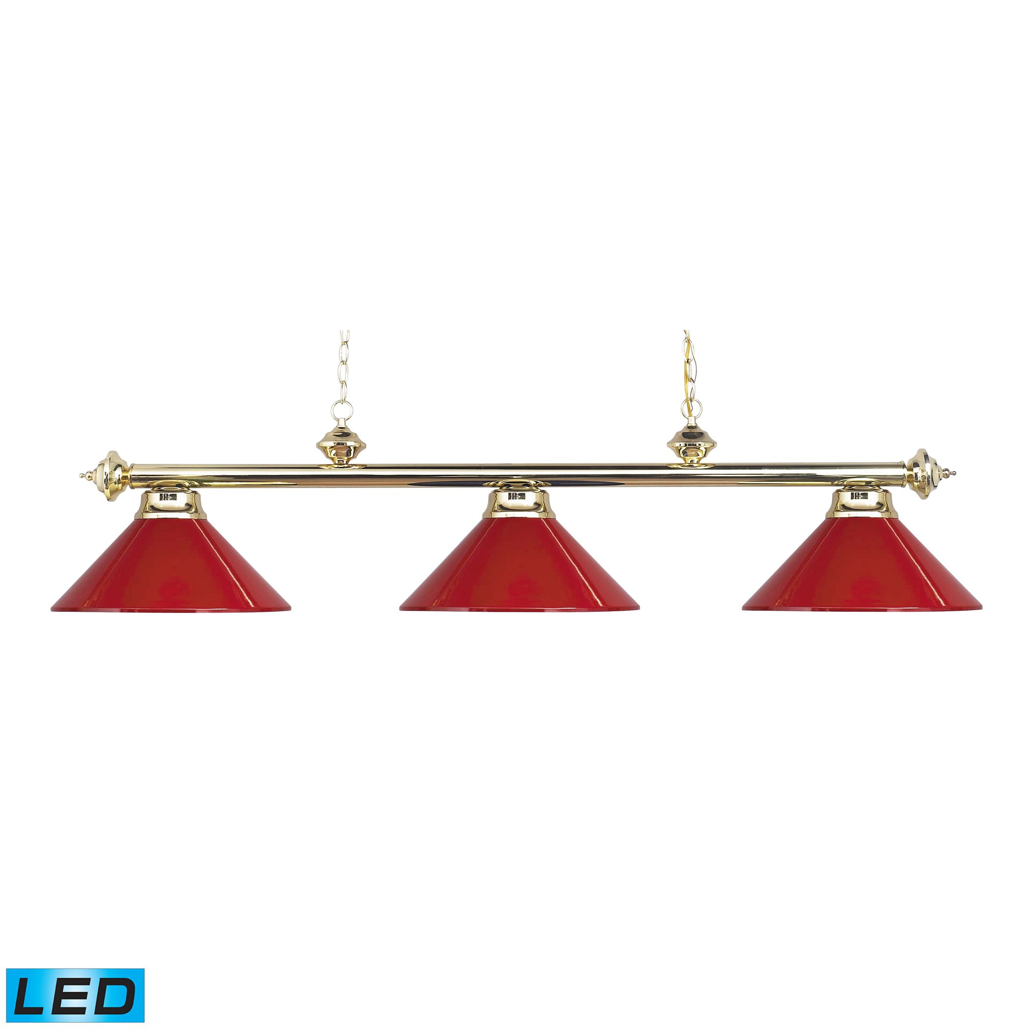 Casual Traditions LED 3-Light Billiard/Island in Polished Brass with Red Metal Shades