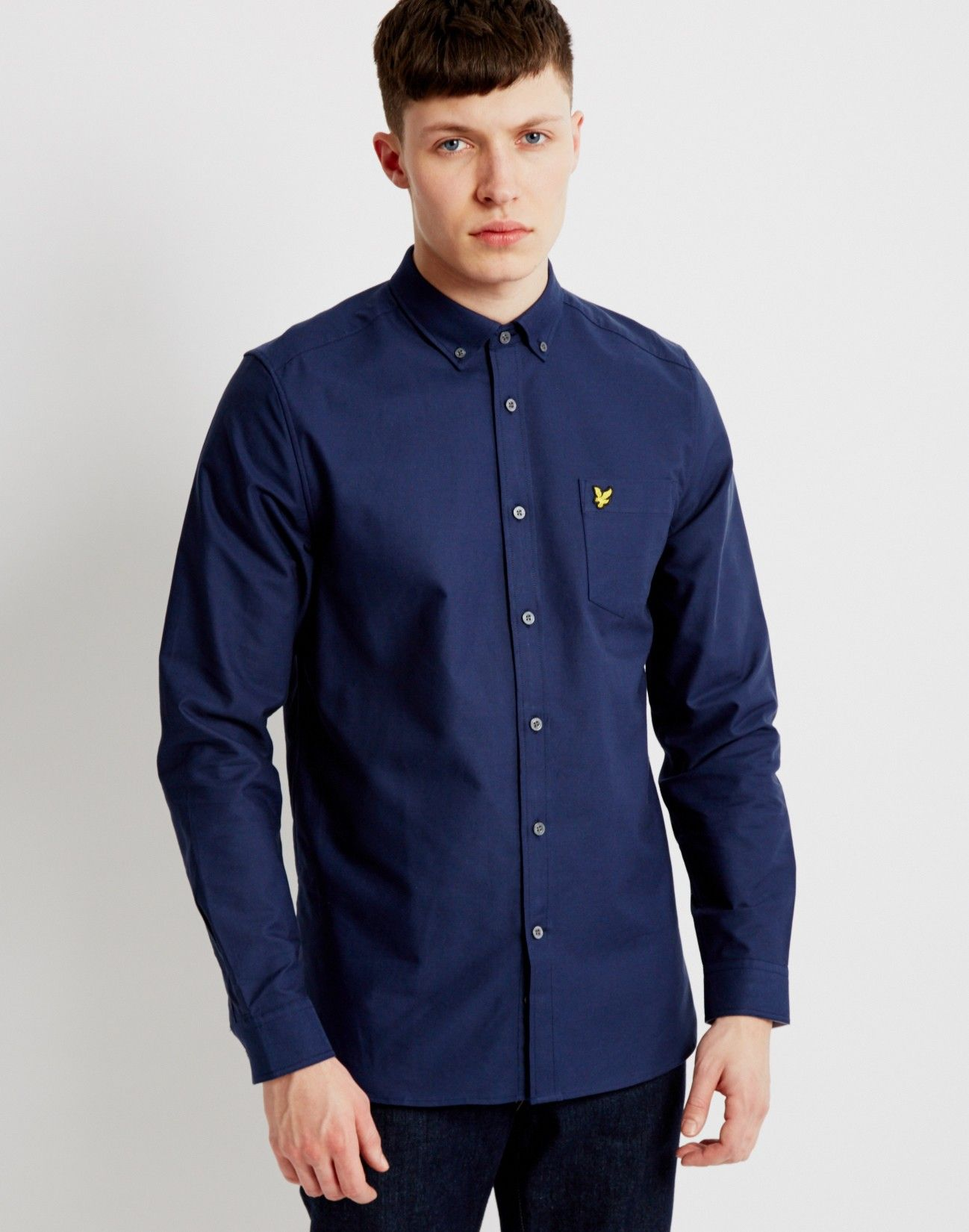 Lyle & Scott Long Sleeve Oxford Shirt Navy | Shop men's clothing and  menswear at The
