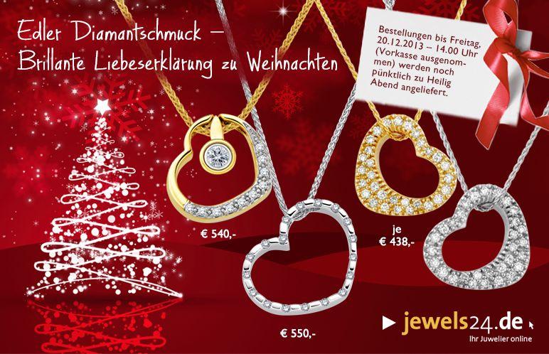 Edler Diamantschmuck - Brillante Liebeserklärung zu Weihnachten. Weihnachten, das Fest der Liebe, ist der ideale Zeitpunkt seiner Liebsten ein brillantes Geschenk zu machen. Schönen Diamantschmuck finden Sie in unserem Online Shop www.jewels24.de. Ringe, Ketten, Armbänder, Ohrstecker - brillante Geschenkideen, direkt vom Hersteller aus Idar-Oberstein zum fairen Preis. #weihnachten #geschenk #geschenkidee #diamantschmuck #schmuck