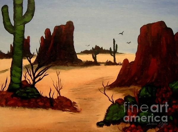 Mesas Buttes and Cactus by Barbara Griffin. A digital painting of some memories of the deserts in Arizona.