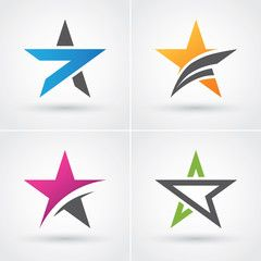 Four Colorful Star Icons Star Logo Visitenkarten