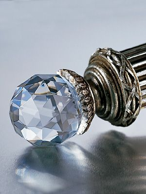 Faceted Crystal Finial Set Curtain Rods Fancy Curtains Silver
