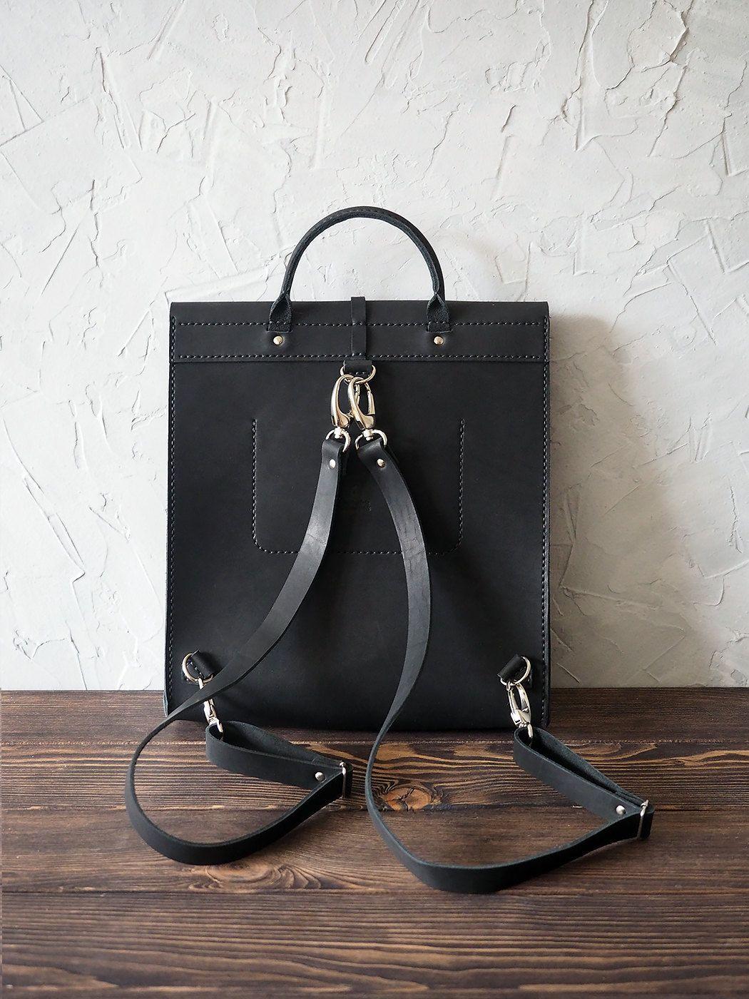 1eebdb131a Women leather backpack. Minimalist bag. Handmade genuine leather rucksack.  Black color. Cut