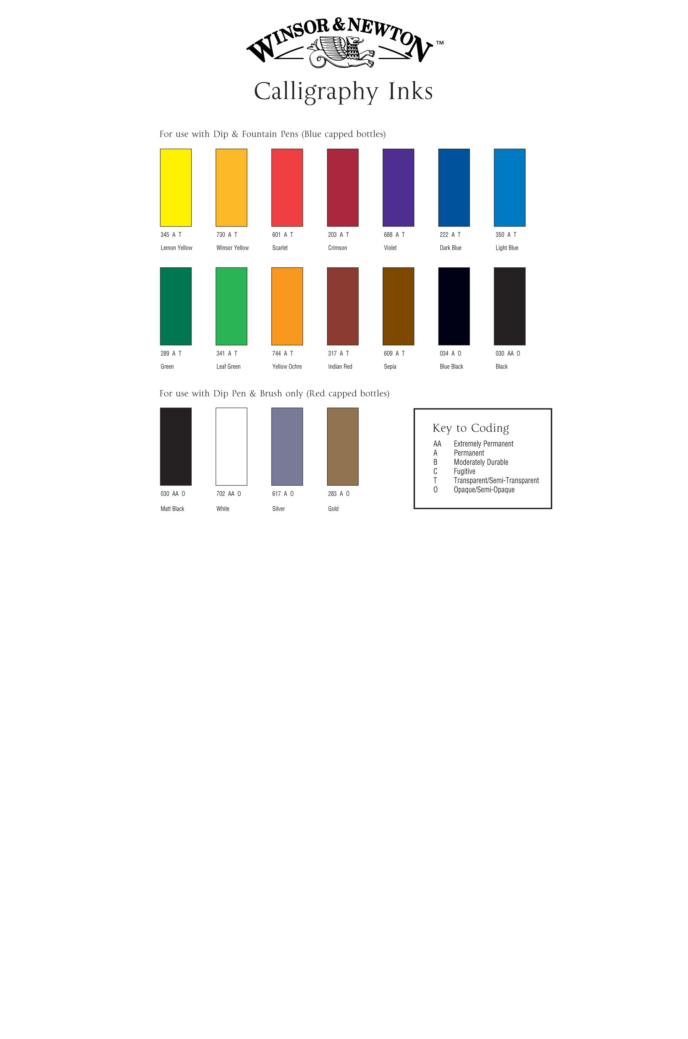 Winsor Newton Calligraphy Inks Colour Chart