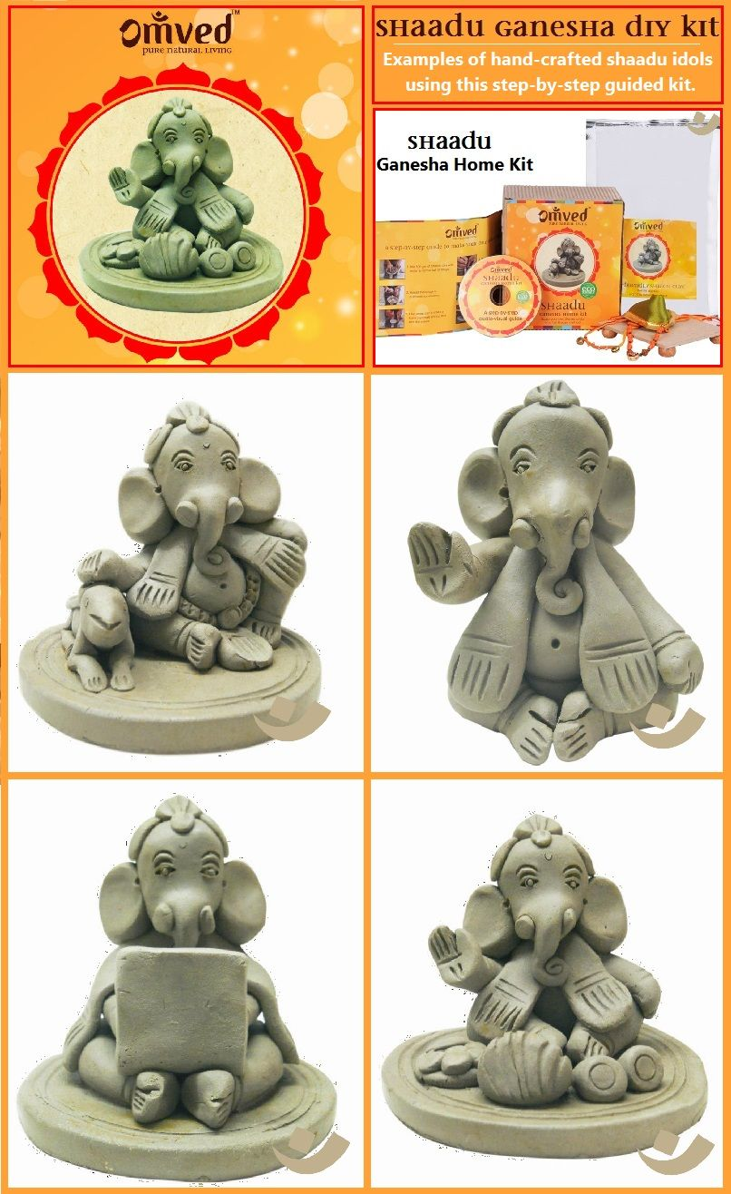 some beautiful illustrations of ganesha idols hand crafted using