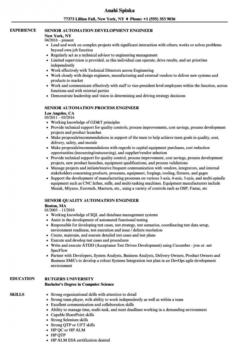14 Automation Engineer Resume Pdf