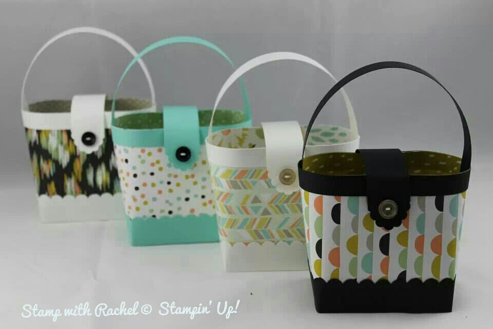 Stampin up stylish hand bags made with sweet sorbet dsp from sale a bration !! (idea only)