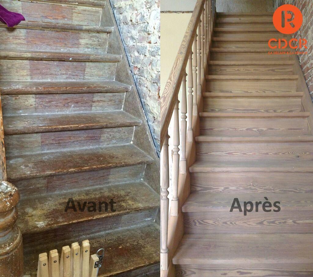 Avant apr s d capage a rogommage escalier ch ne salle - Comment mesurer un escalier ...