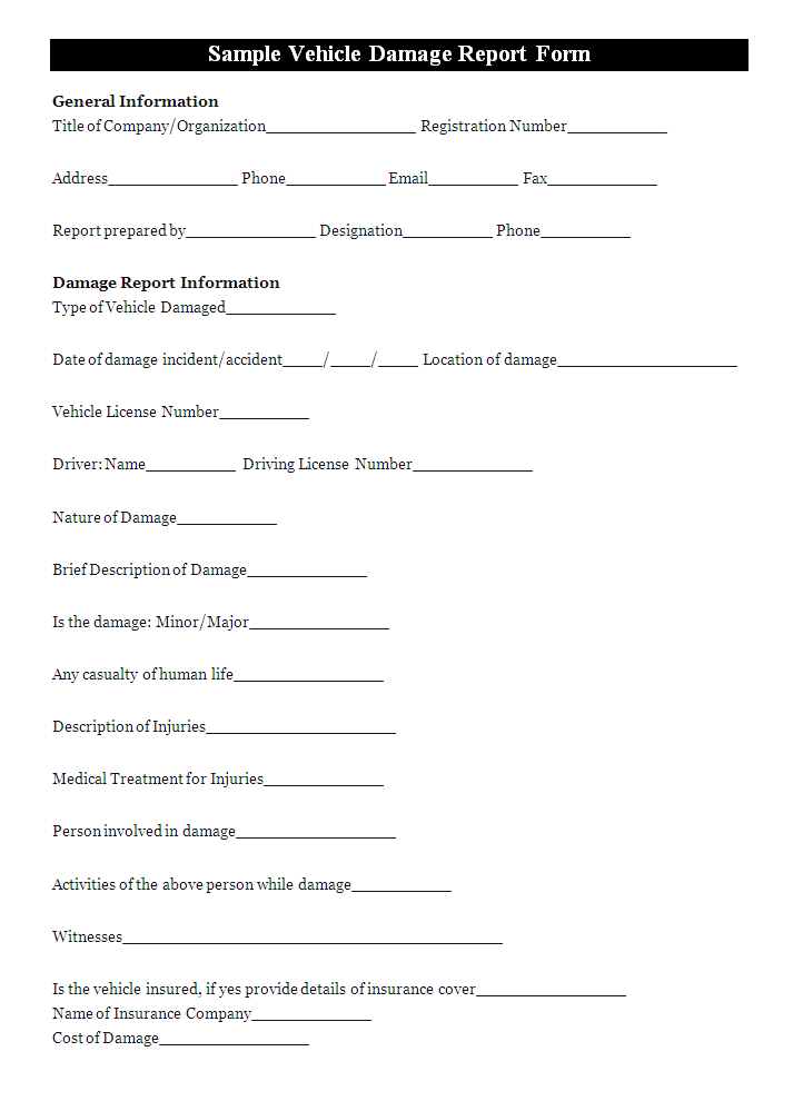 Vehicle Damage Report Template Report Templates Report Template Templates Professional Templates