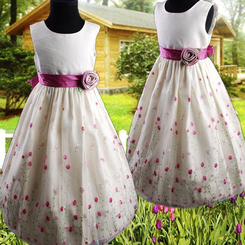 R287 Elfenbein Kinder Blumenmädchen Kleid Gestickte Hochzeit Partei ...