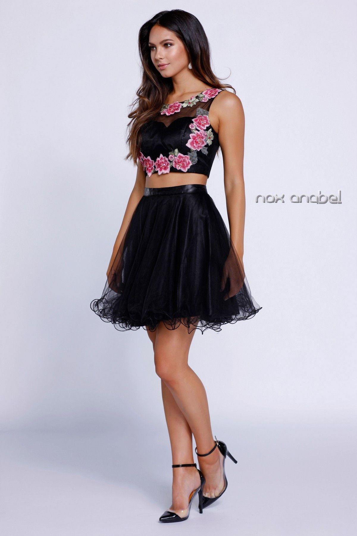 Black Crop Top Floral Embroiderered Dress by Nox Anabel 6228 ...