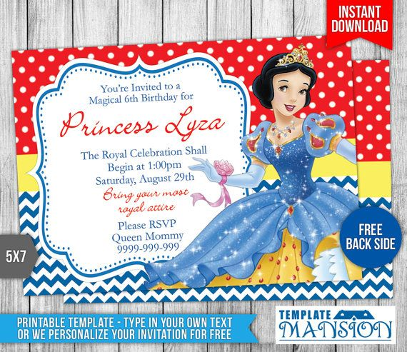 snow white invitation template