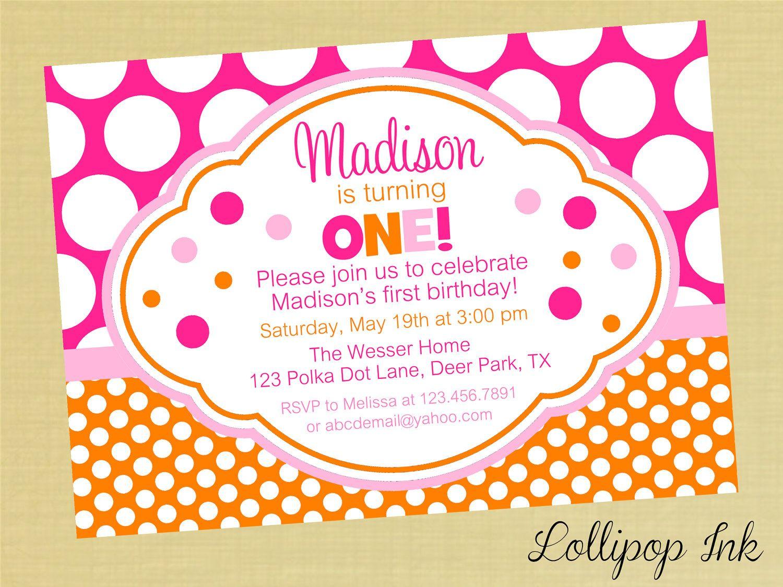 Hot Pink and Orange Polka Dot Printable Birthday Invitation, Hot ...