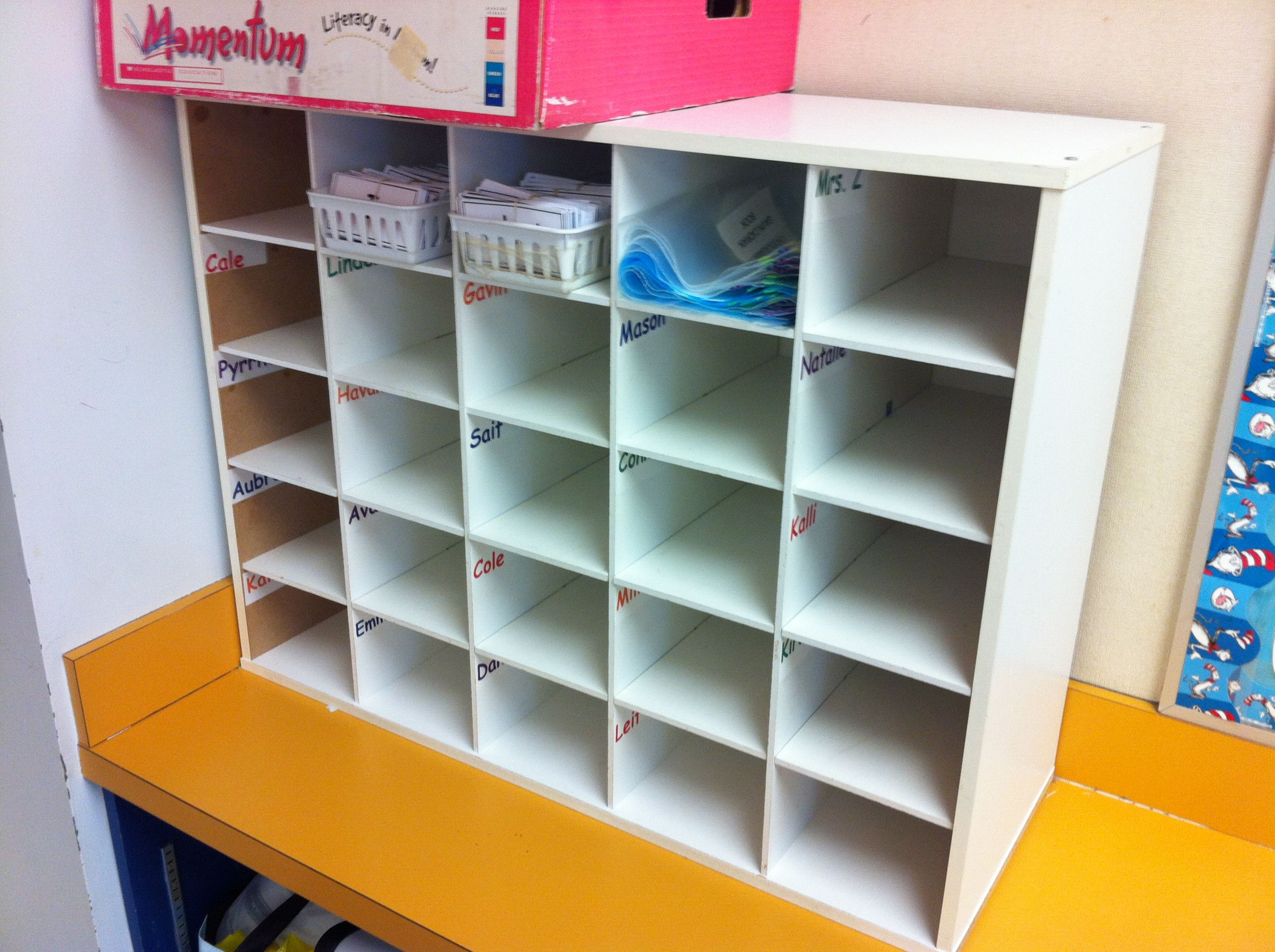 Classroom Cubby Ideas ~ Use shoe cubby for student mailboxes beginning of the