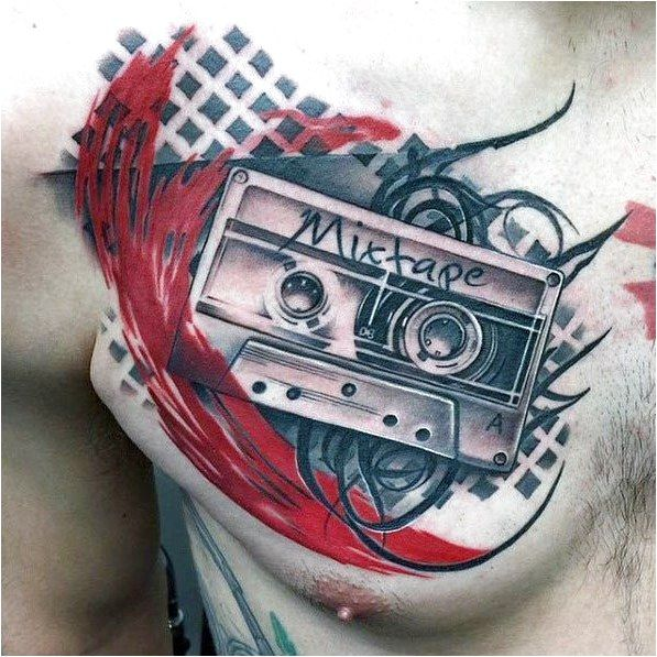 Abstract Mens Trash Polka Cassette Tape Mixtape Upper Chest Tattoo Click to see more