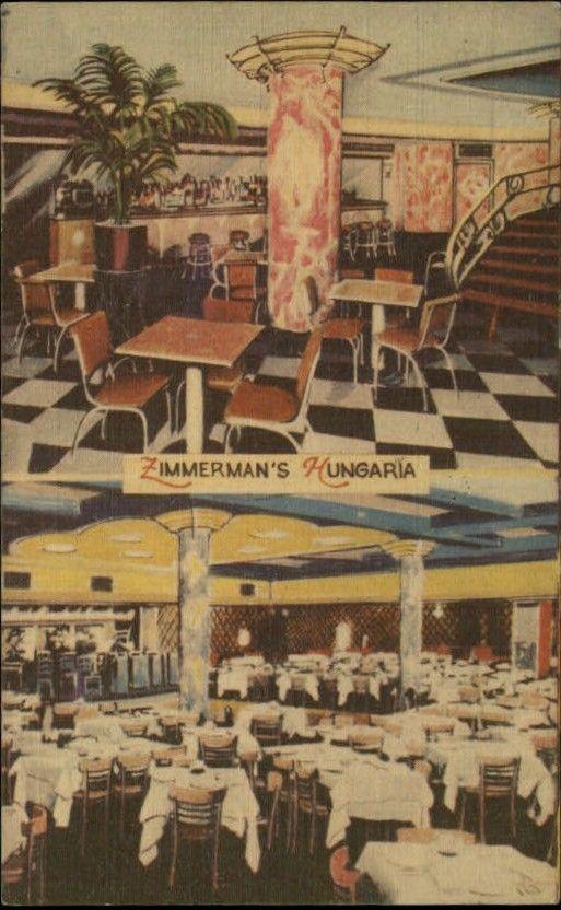 New York City Zimmerman S Hungarian Restaurant Multi View Postcard Hungaria Late 1940s