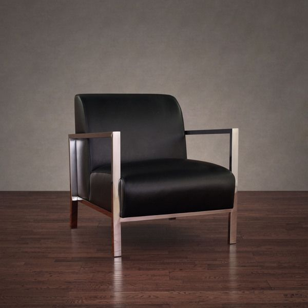 Leather Accent Chairs For Living Room | Modena Modern Black Leather Accent Chair Overstock Shopping