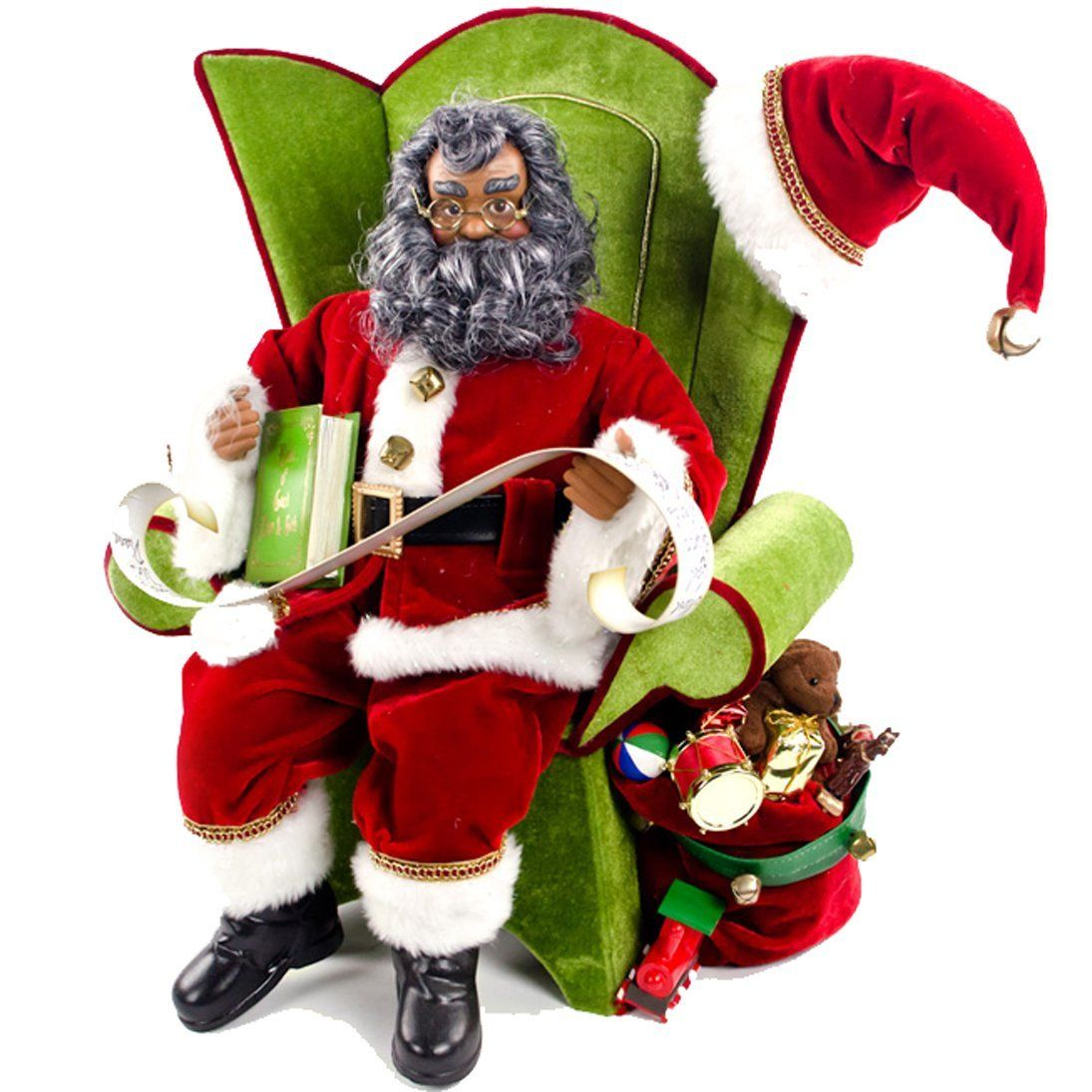 African American Santa Sitting On A Chair Decoration