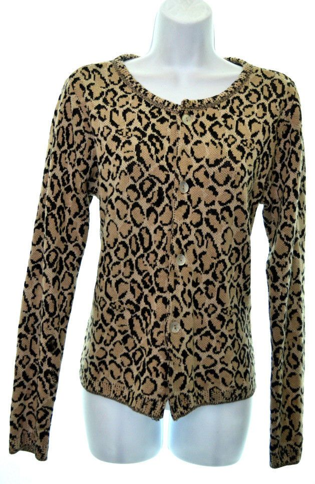 2a234ce84556 JOAN VASS 1 Womens 6 8 Brown Black Cheetah Print Button Down Cardigan  Sweater #JoanVass #Cardigan