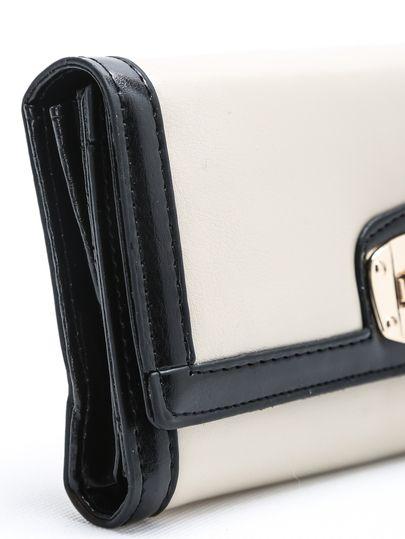 Beige Twist Lock Clutch Bag