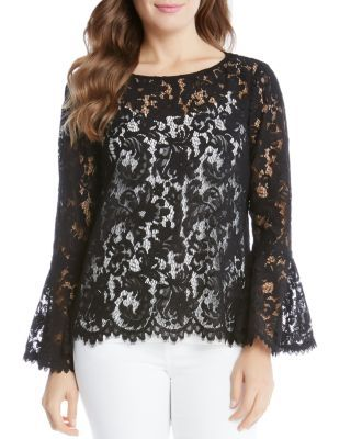Karen Kane Sheer Lace Bell Sleeve Top | Bloomingdale's