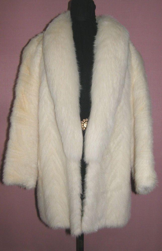 b99985a3f588 BEAUTIFUL ELEGANT OFF WHITE MINK FUR COAT FOX COLLAR SZ LARGE  Unbranded   BasicCoat 550