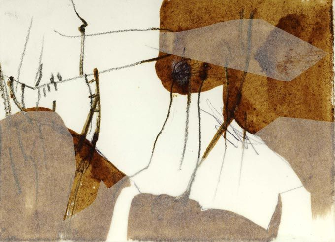collage by Masha Ryskin using coffee,paper,intaglio