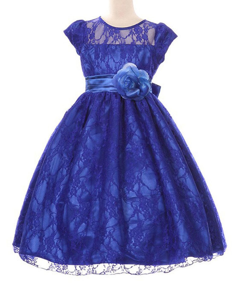 Look at this #zulilyfind! Shanil Royal Blue Floral Lace A-Line Dress ...