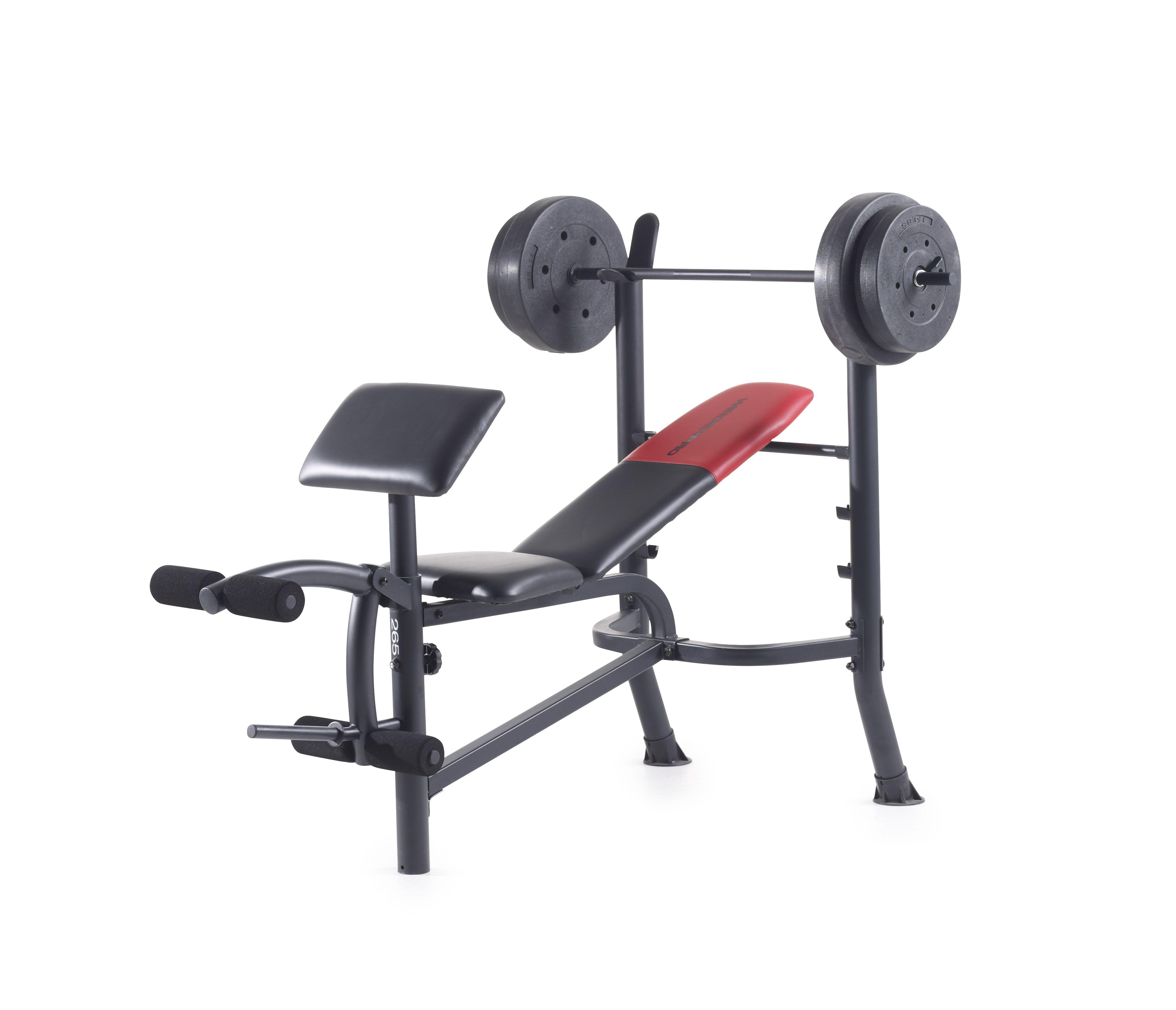 Weider Pro 265 Standard Bench With 80 Lb Vinyl Weight Set Weight Bench Set Weight Benches Home Gym Set