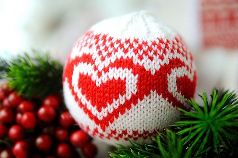 Photo of Christbaumschmuck, Knit Christmas Ball, Feiertage Dekor, Christmas Ball Ornament…