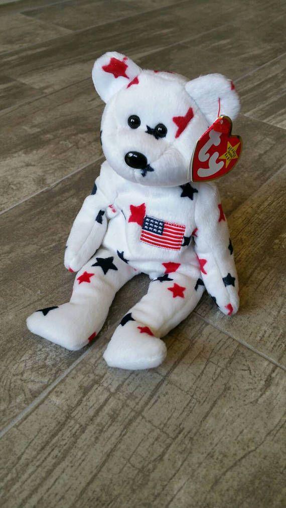 Ty Beanie Baby - Glory Bear(red white   blue stars w american flag ... d181c0bafc37