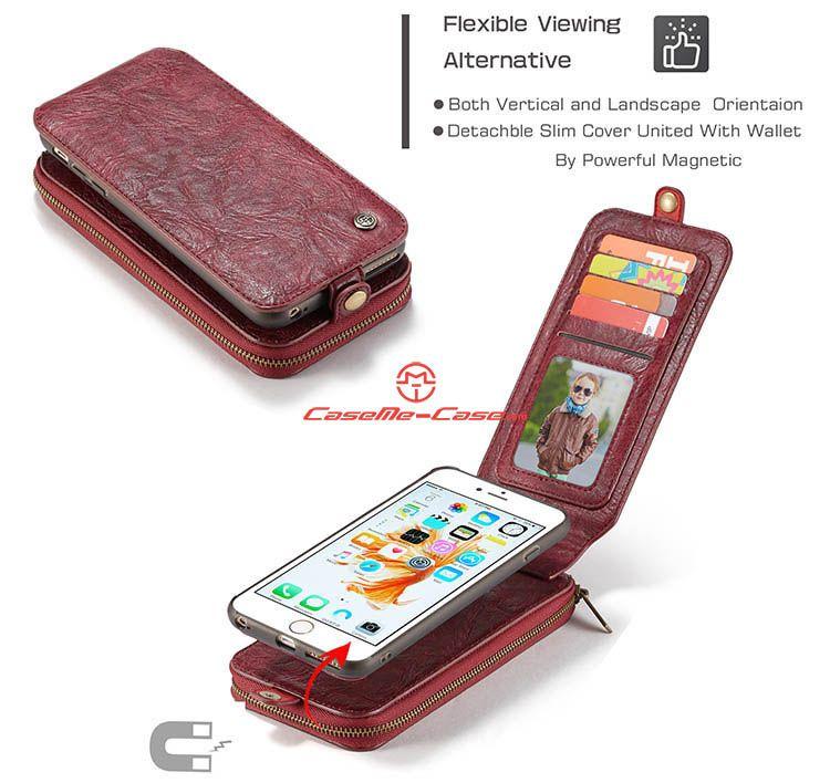 Caseme Iphone 6s Plus Zipper Wallet Magnetic Detachable Flip