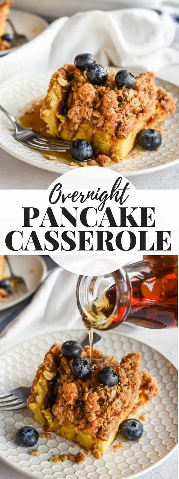 This Overnight Pancake Casserole is the perfect make ahead friendly breakfast! Fluffy buttermilk pancakes, an eggy custard, and a crunchy cinnamon streusel topping make this a decadent breakfast for any occasion! #pancakes #makeahead #breakfastrecipe #brunch #pancakecasserole