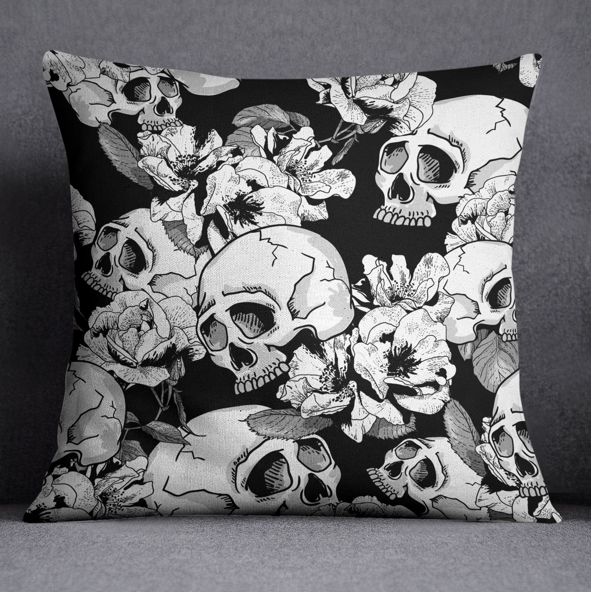 Black And White Sexy Flower Skull Duvet Bedding Sets
