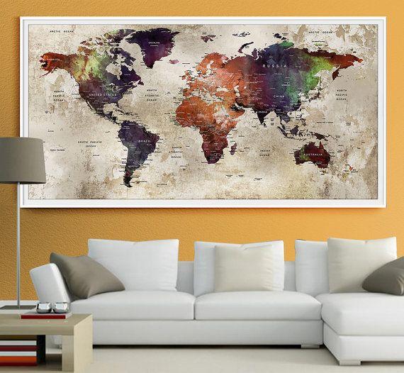 weltkarte für die wand World Map Wall Art Print, Large Wall Art Push Pin World Map Art  weltkarte für die wand