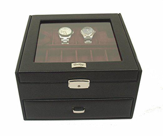 a4d3ff0c69b2 Estuche Relojero para 12 Relojes con Vitrina de Cristal - Calidad Premium -  Joyero Relojero Hombre -Hecho a Mano en Piel- en Color Negro CDM-00023  ...
