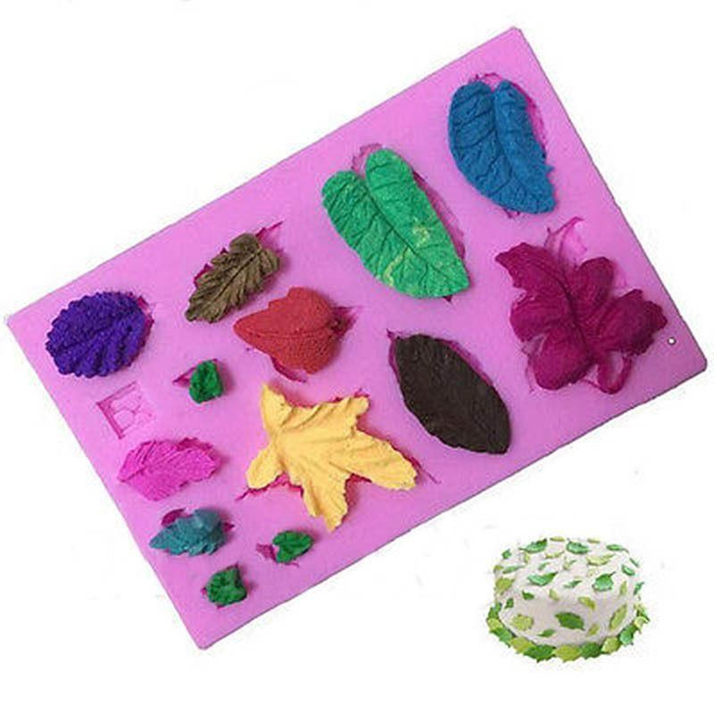 3D Flower Leaves Silicone Cake Mold Fondant Sugar Chocolate Decor Baking Tools Q