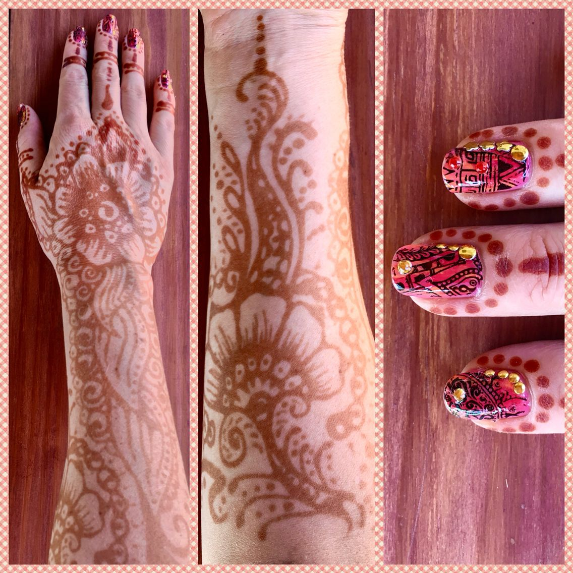 Henna on both sides of forearm with beautiful nailart manicure
