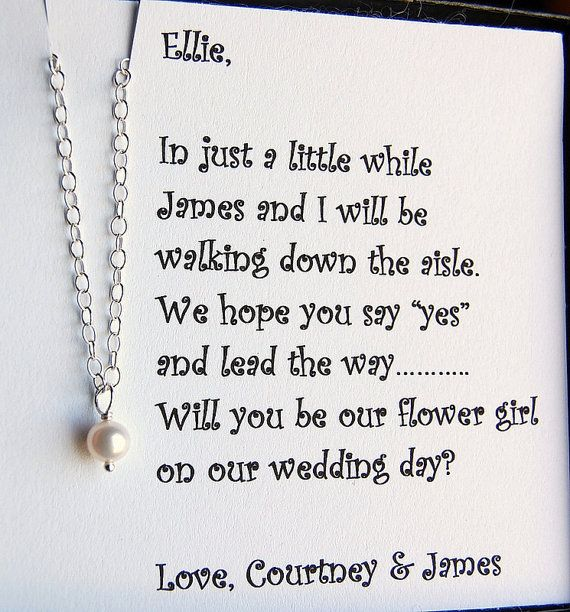 Ask Flower Girl Asking Bridesmaids Flower Girl Necklace Be brave little one  Bridesmaid Jewelry  Flower Girl Gift RG Wedding Jewelry