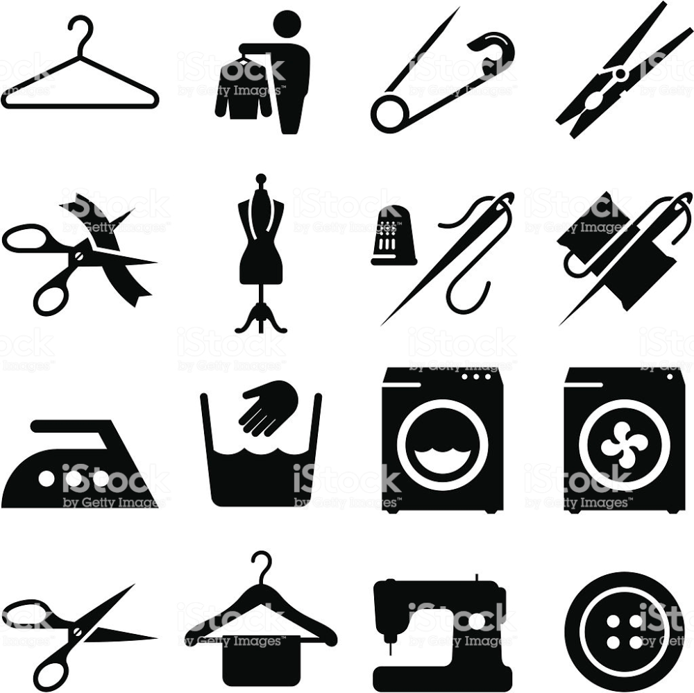 Laundry, alterations, dry cleaning and sewing icons