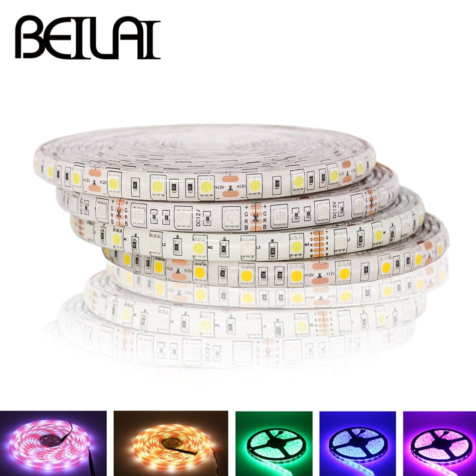 Led Strip Waterproof Beilai Smd 5050 Rgb Led Strip Waterproof 5m 300led Dc 12v Rgbw