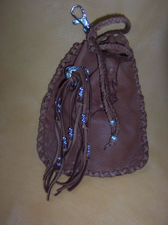 Brown Deerskin Purse Pouch  Clip on by PatchesCustomLeather