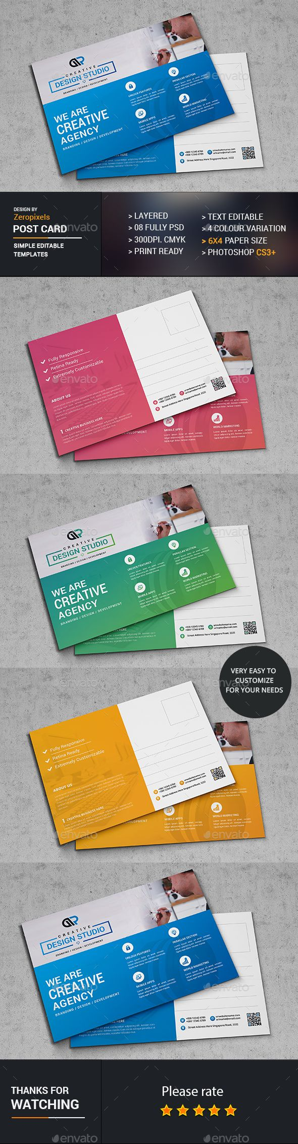 Web PostCard Template PSD. Download here: http://graphicriver.net ...