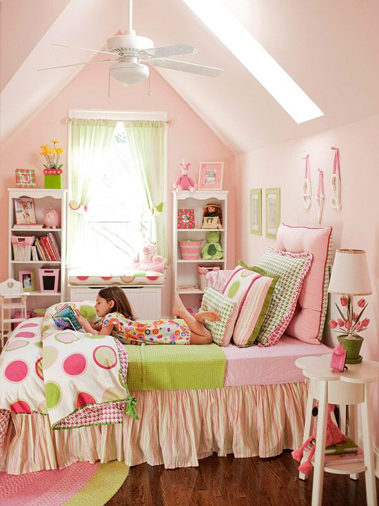 Pink & Green Girls Room - sweet retreat. Pale pink wall gets a dash of necessary warmth from the nearly complementary apple green accents dotted around the room.