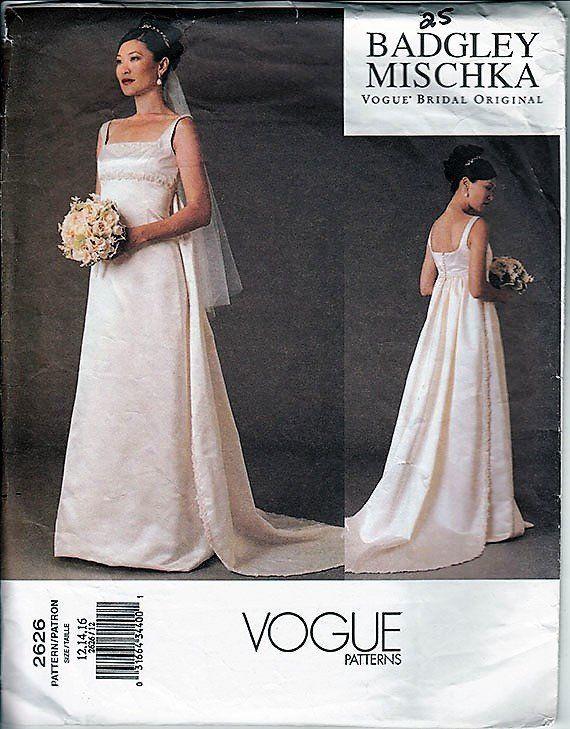 2002 Vogue Bridal Original Gown Pattern VOGUE 2626 BADGLEY MISCHKA ...